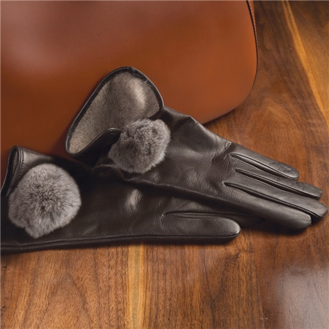 Leather Cashmere Lined Gloves with Rabbit Pom Poms