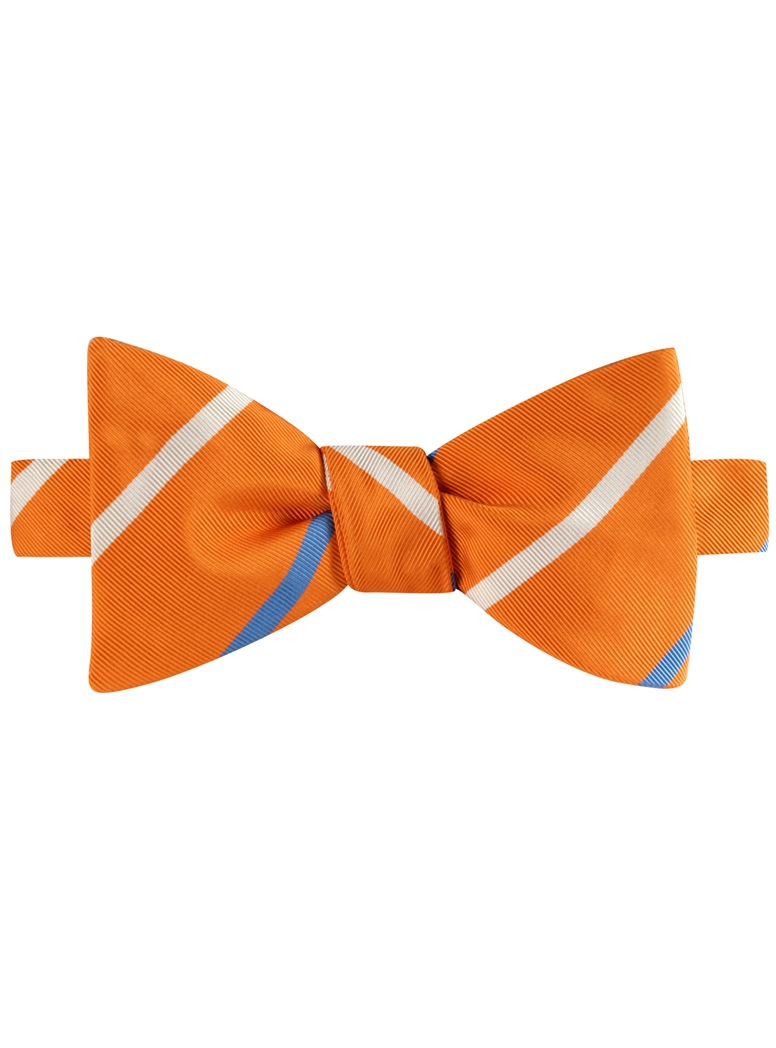 Mogador Double Striped Bow Tie in Tangerine