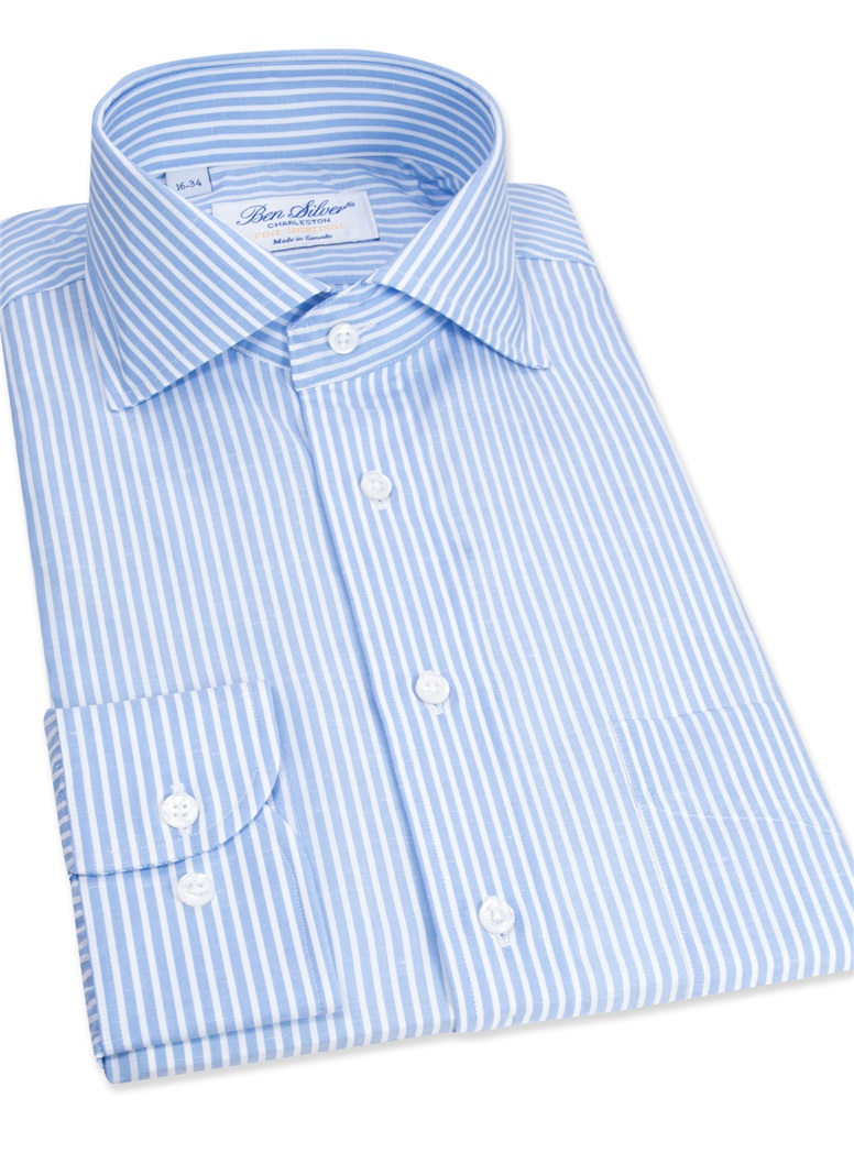 Cotton and Linen Blue and White Stripe Cutaway