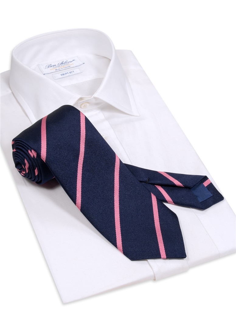 Silk Bar Striped Tie in Navy with Rose