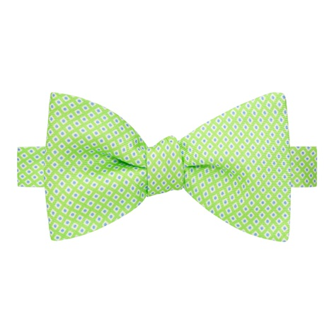 Silk Printed Dots Bow Tie in Lime with Sky