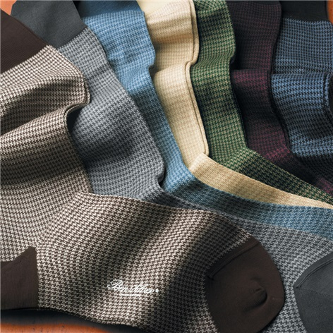 Houndstooth Dress Socks in Cotton