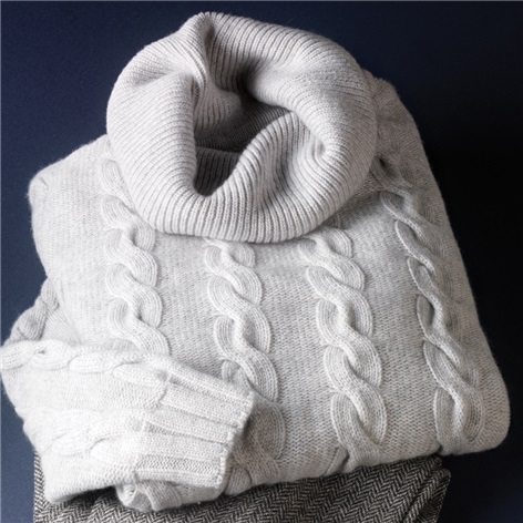 Ladies Cashmere Cowl Neck Sweater in Earl Grey