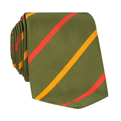 Mogador Double Bar Striped Tie in Fern