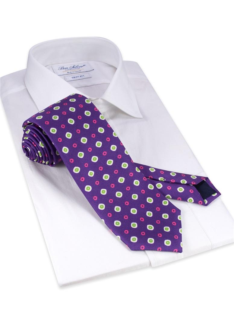 Silk Neat Printed Tie in Plum