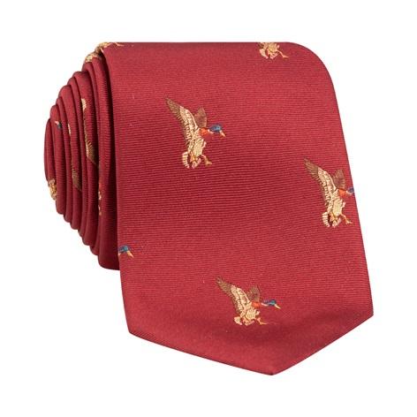 Silk Woven Mallard Tie in Ruby