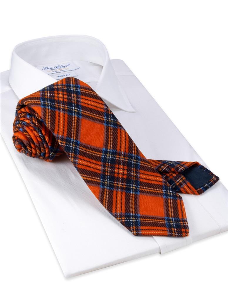 Wool Plaid Printed Tie in Orange