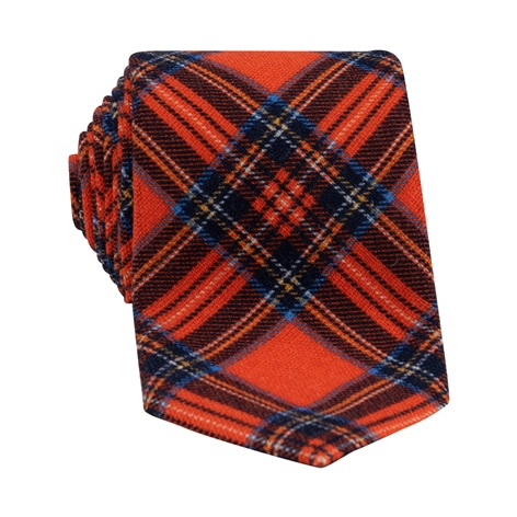 Wool Plaid Printed Tie in Orange