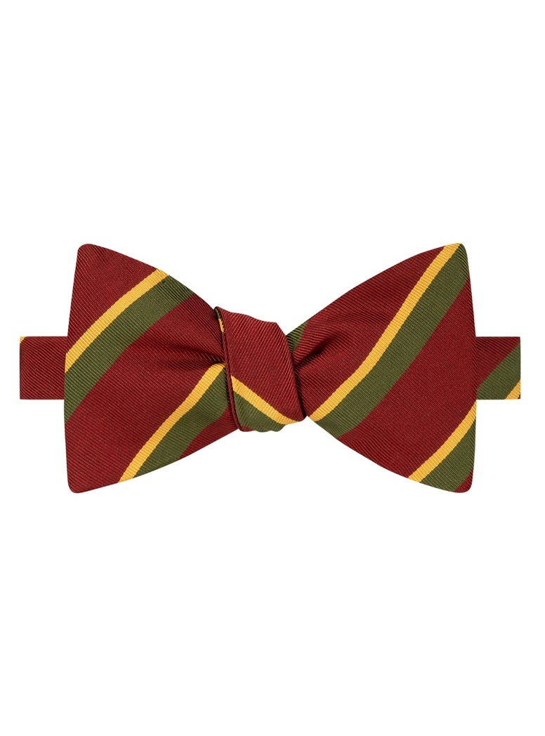 Mogador Silk Double Stripe Bow Tie in Ruby
