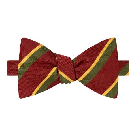 Mogador Silk Double Stripe Bow Tie in Ruby