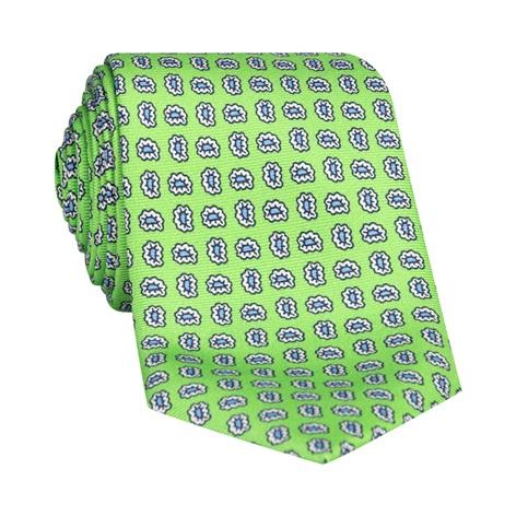 Silk Droplet Paisley Printed Tie in Lime