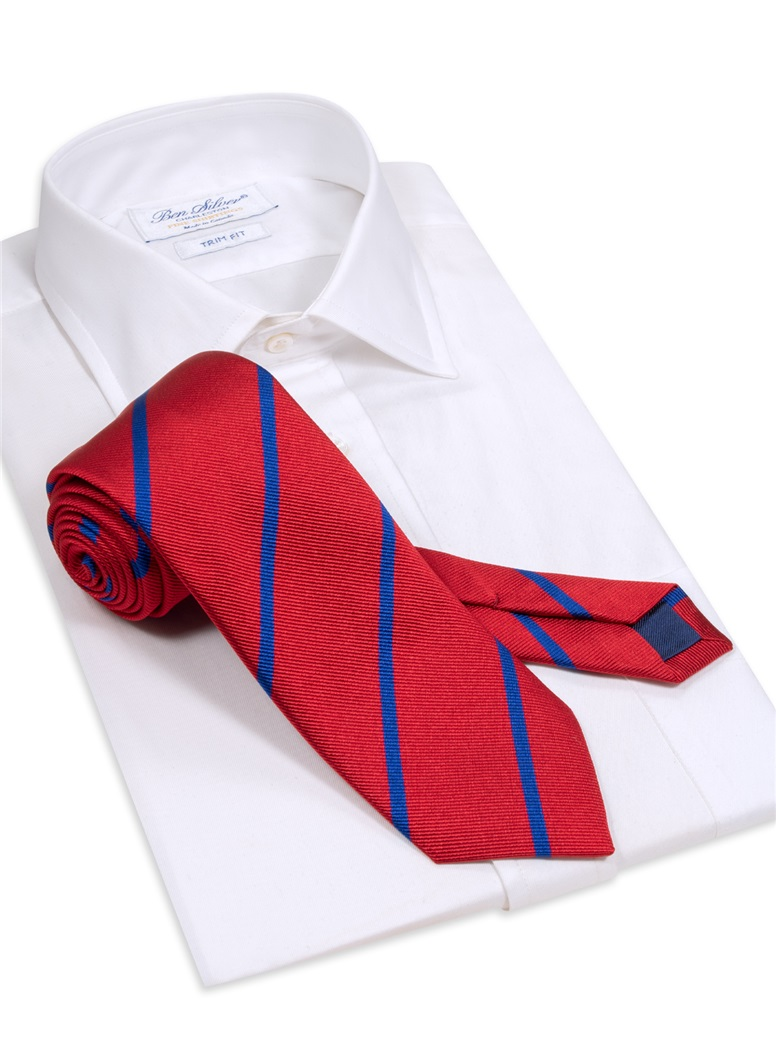 Silk Bar Striped Tie in Red with Royal Blue