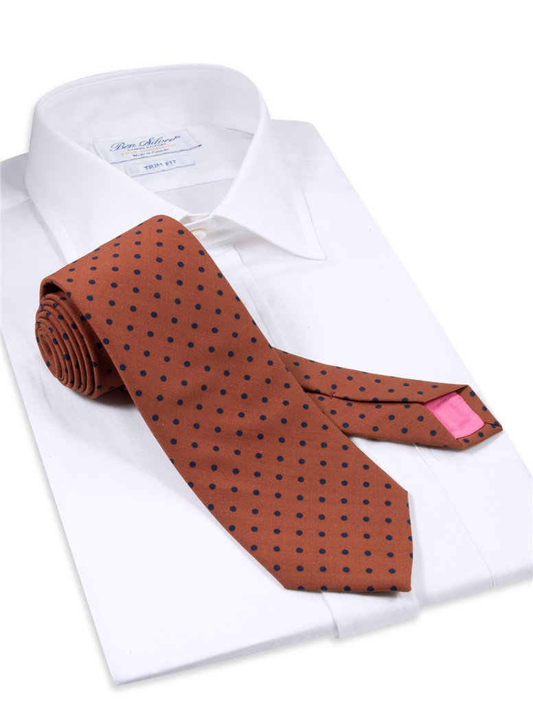 Wool Printed Dots Tie in Amber with Navy