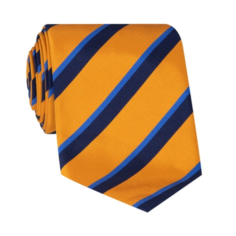 Mogador Silk Double Stripe Tie in Marigold