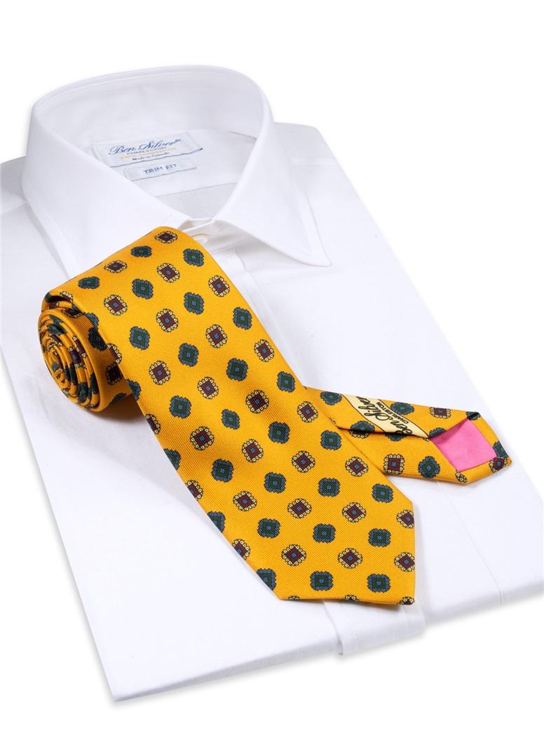 Silk Printed Square Motif Tie in Amber