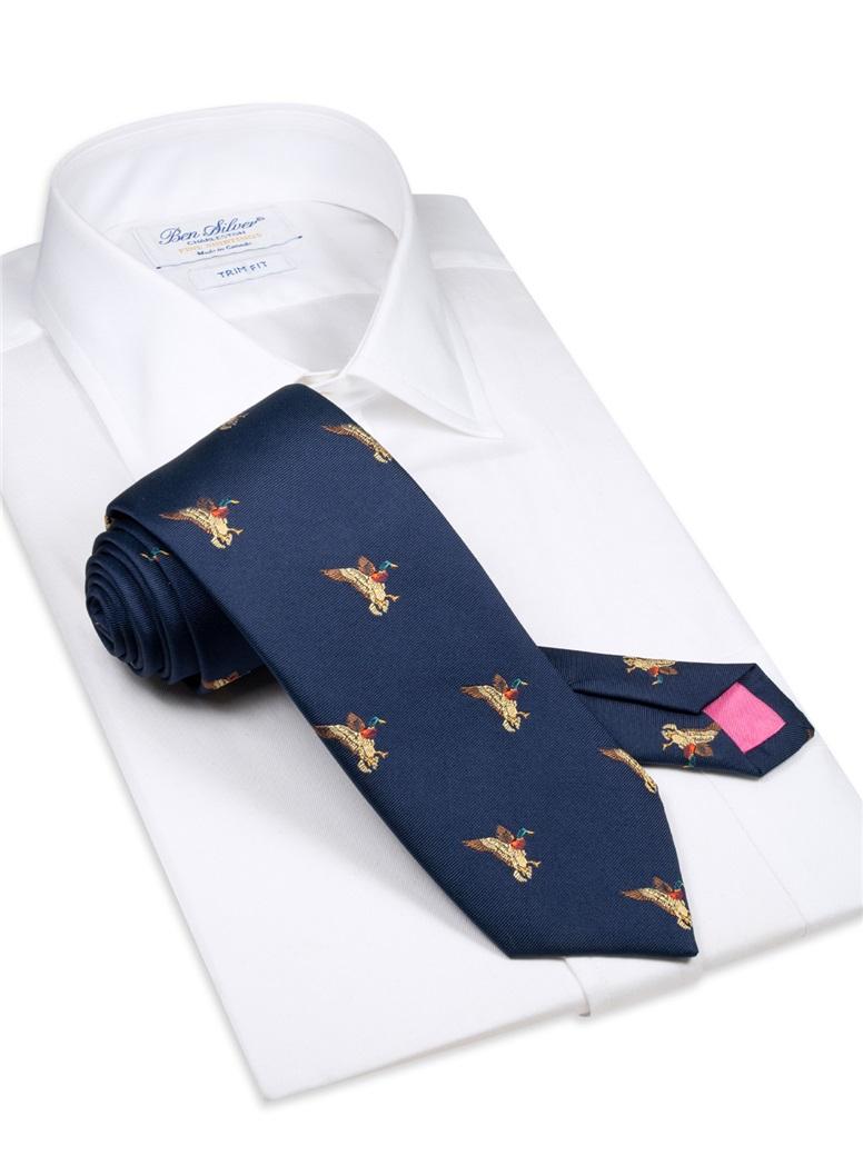 Silk Woven Mallard Tie in Navy