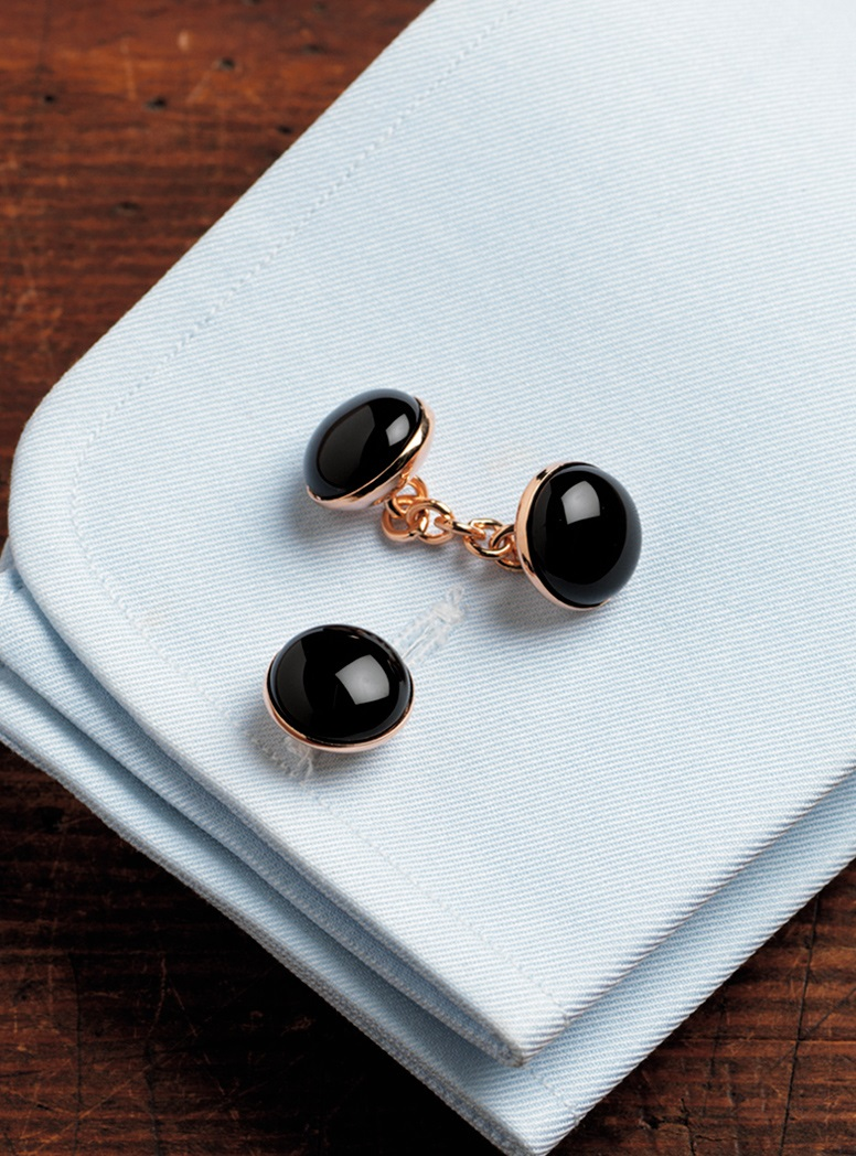 Rose Gold Black Onyx Cufflinks