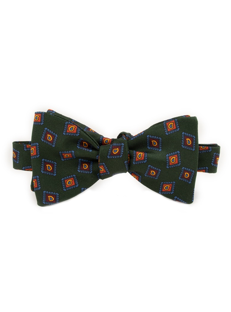Silk Diamond Paisley Printed Bow Tie in Forest