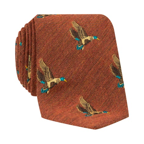 Silk Woven Flying Ducks Motif Tie in Amber