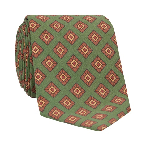 Silk Diamond Printed Tie in Fern