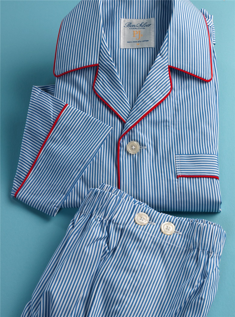 Bengal Stripe Pajamas in Royal and White with Red Piping