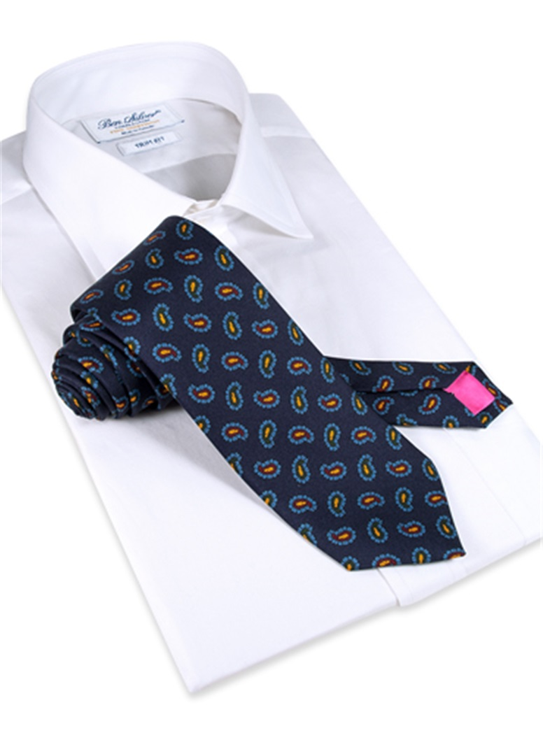 Silk Paisley Printed Tie in Navy