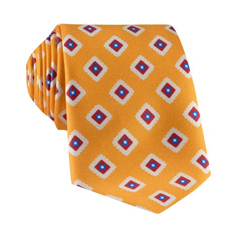 Silk Printed Tile Motif Tie in Amber