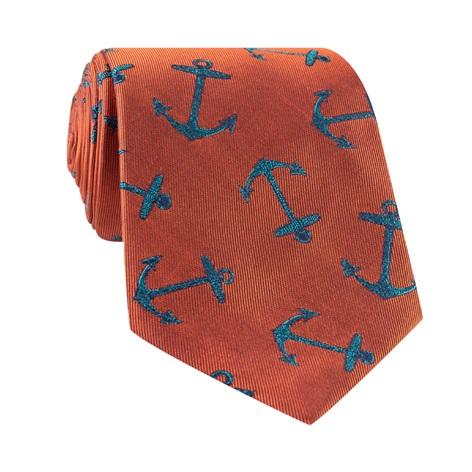 Silk Woven Anchor Motif Tie in Copper