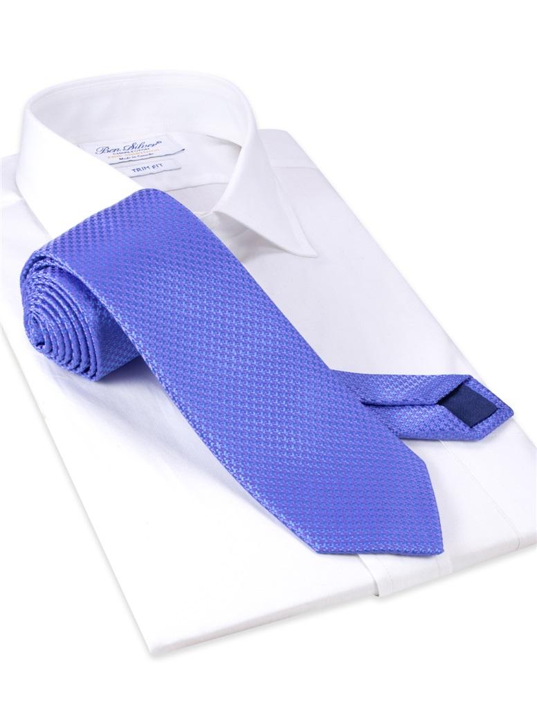 Silk Woven Houndstooth Tie in Cobalt
