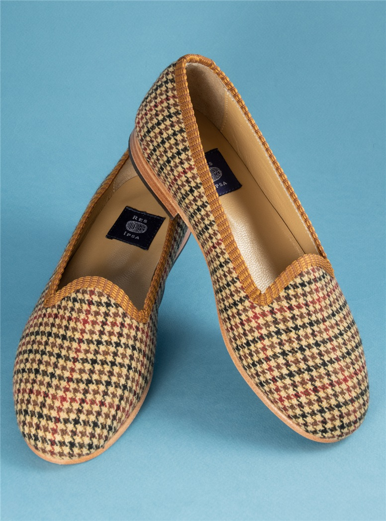 Ladies Brown and Red Houndstooth Loafers