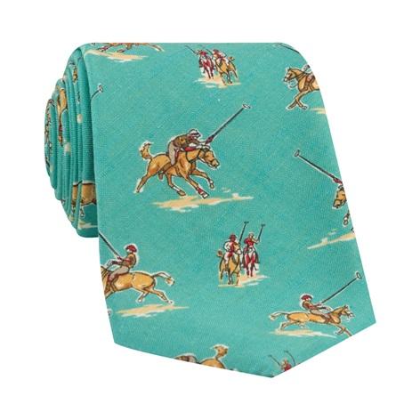 Silk Print Polo Player Motif Tie in Aqua