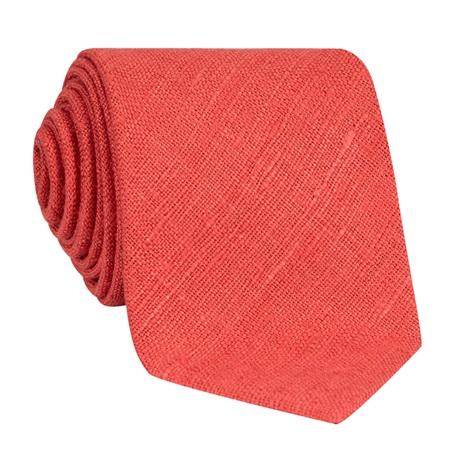 Silk Shantung Tie in Coral