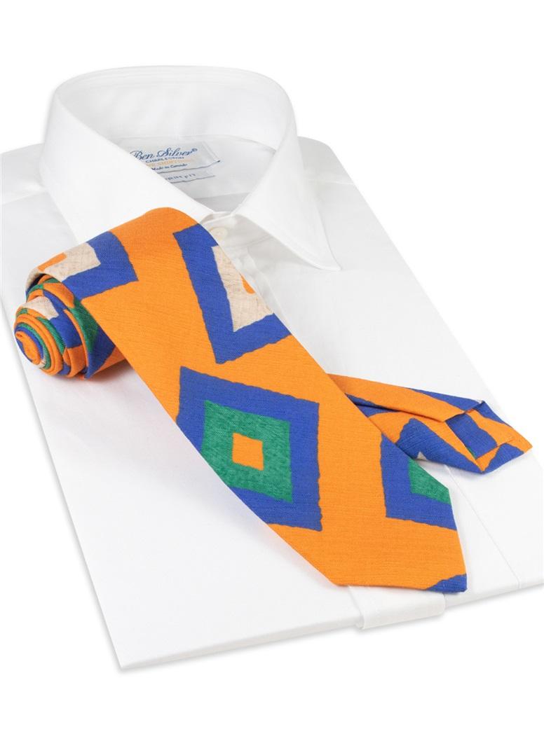 Silk and Linen Retro Diamond Tie in Marigold