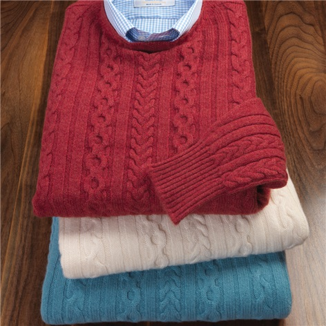 Cashmere Cable Knit Crewneck Sweaters
