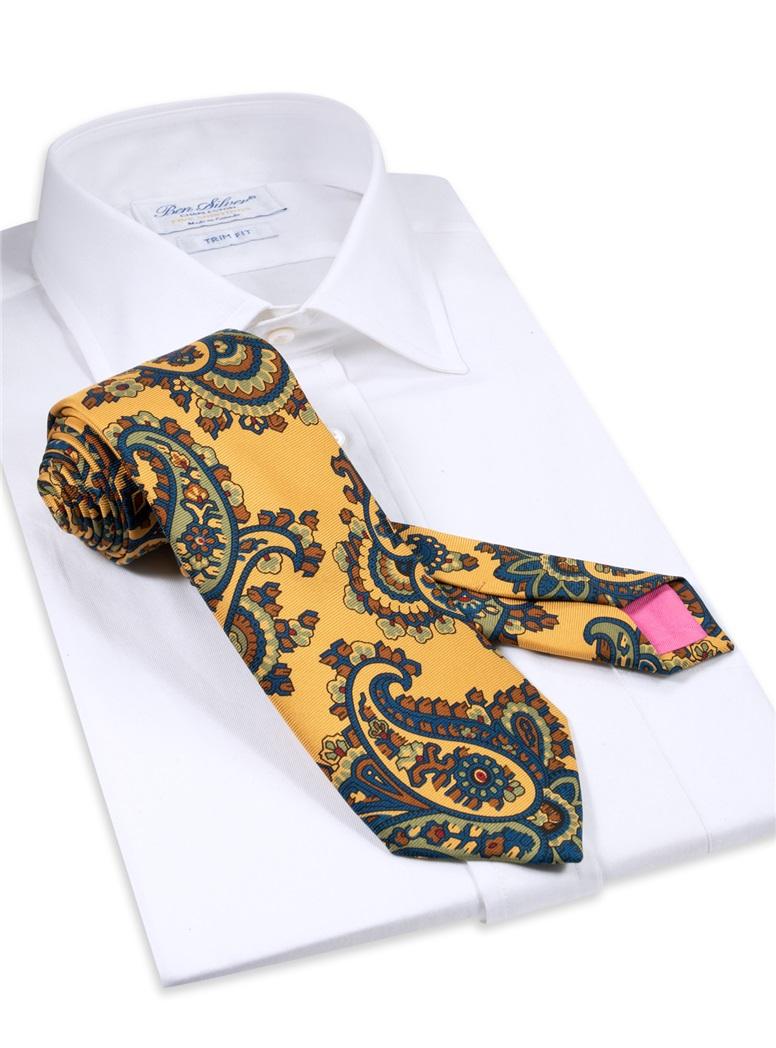 Silk Paisley Printed Tie in Marigold