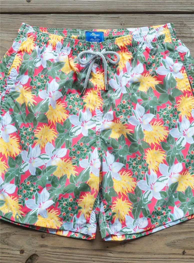 Tropical Flower Print Trunks in Coral