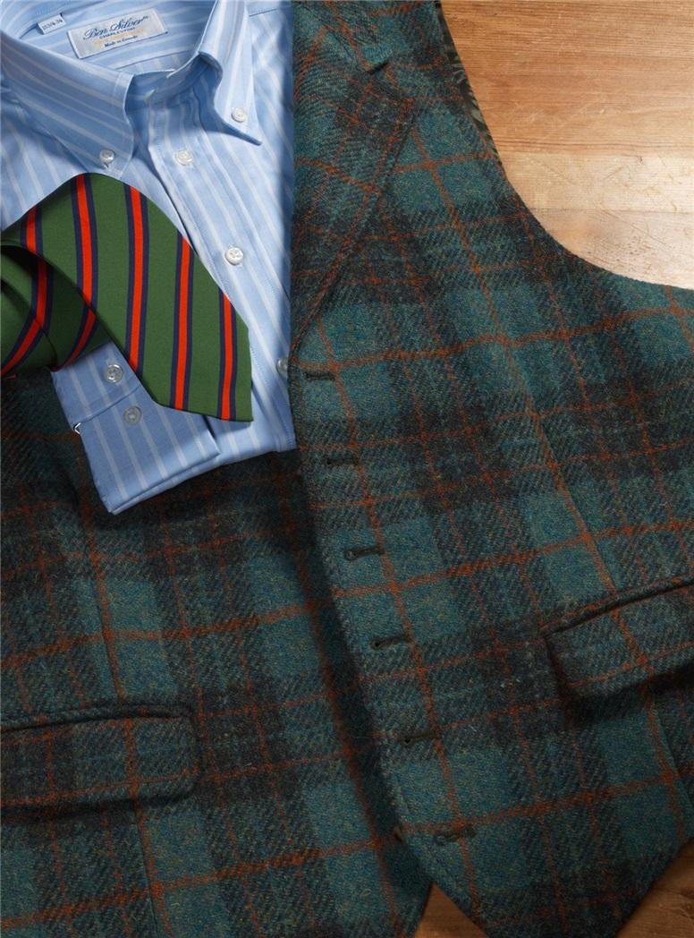 Sage and Rifle Plaid Harris Tweed Waistcoat with Oak Windowpane