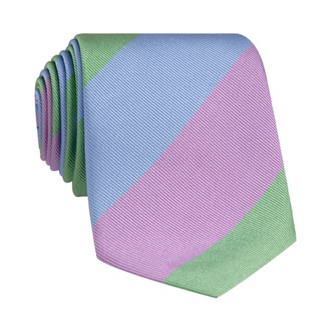 Woven Block Stripe Tie in Lavender, Sage and Sky