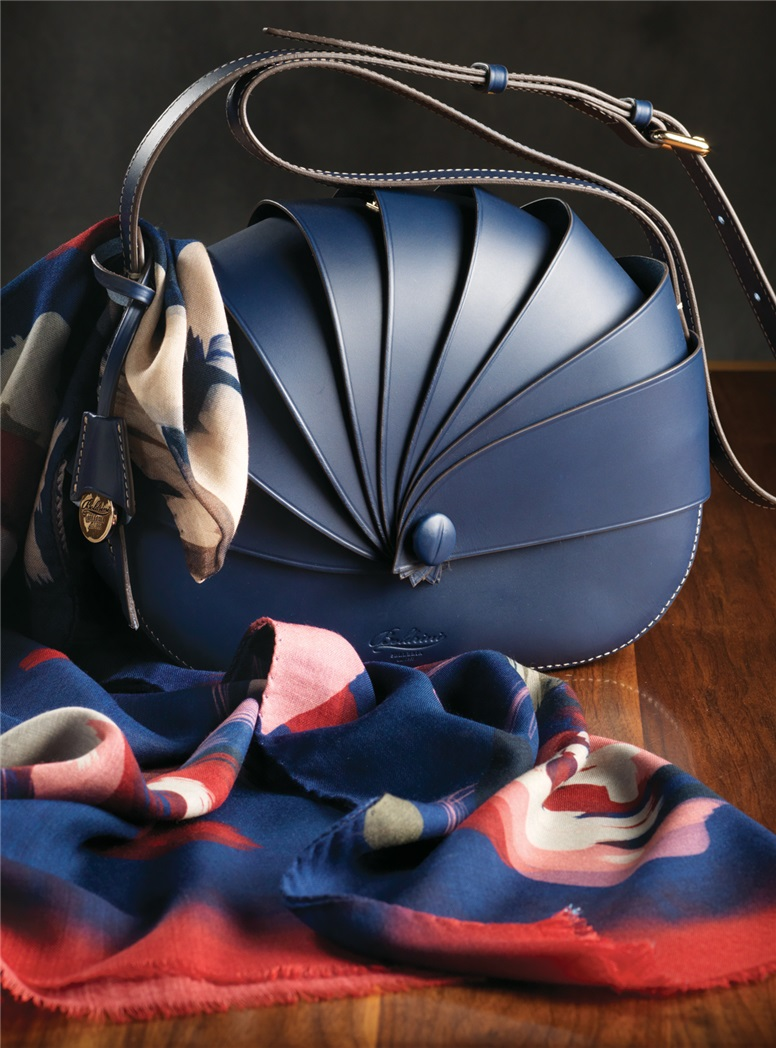 Leather Shell Handbag in Royal Blue