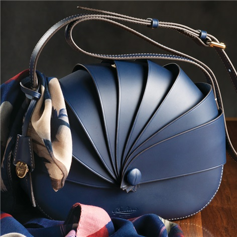 Leather Shell Handbag in Royal Blue