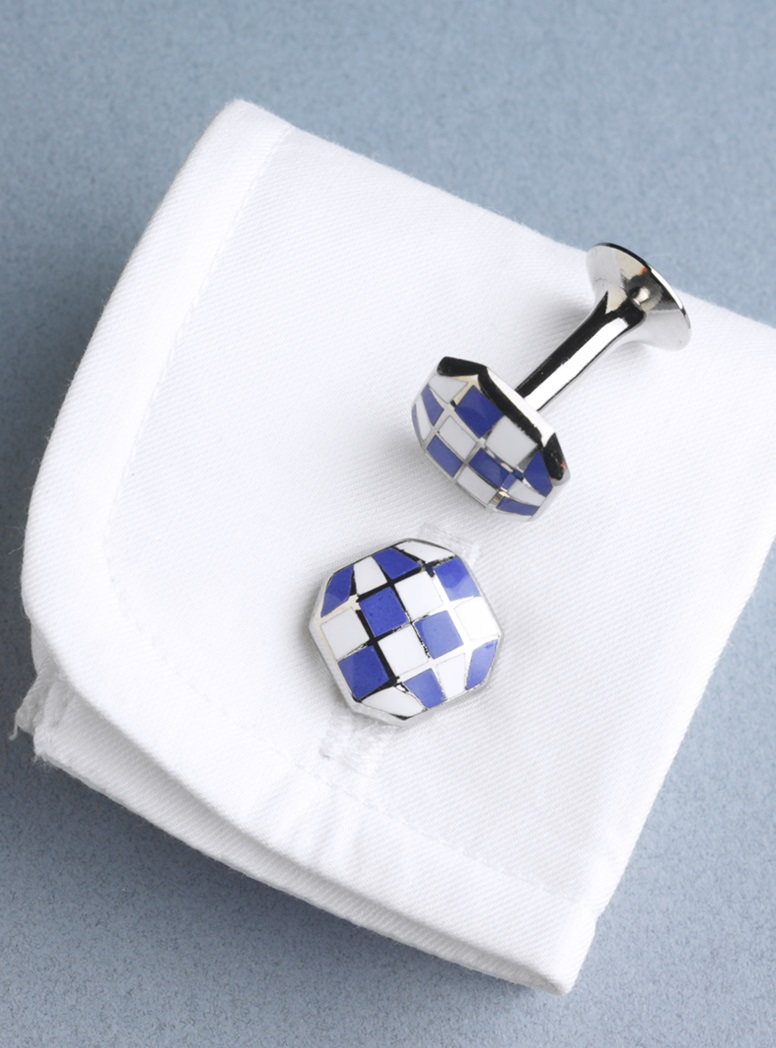 Octagon-shaped Cufflinks in Blue and White Checkerboard