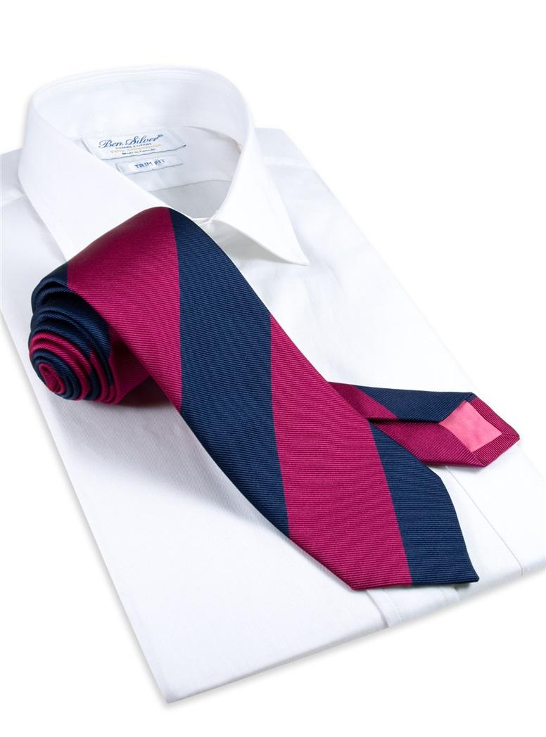 Silk Block Stripe Tie in Magenta