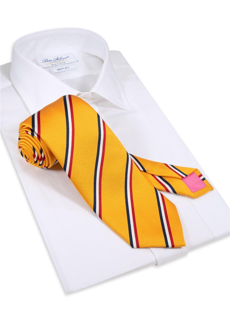 Silk Triple Stripe Tie in Marigold