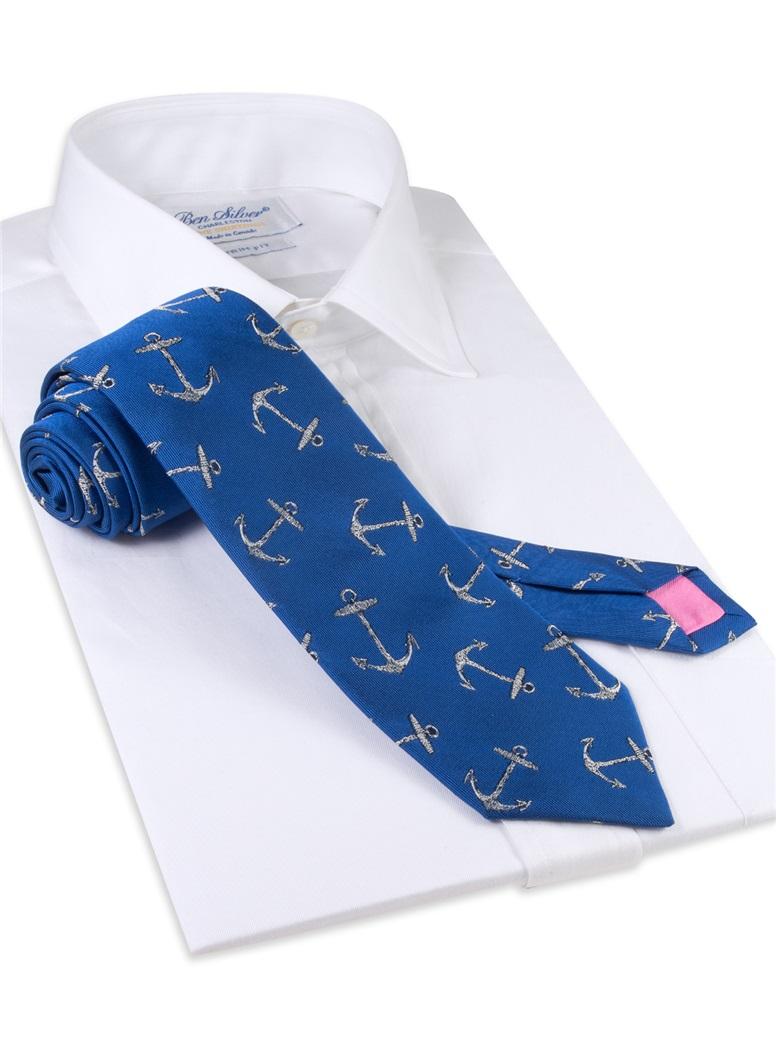 Silk Woven Anchor Tie in Royal