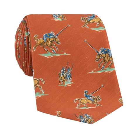 Silk Print Polo Player Motif Tie in Tangerine