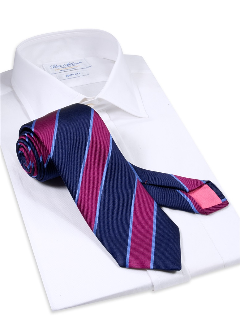 Silk Striped Tie in Navy and Magenta