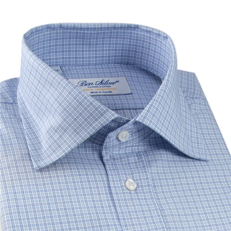 White with Navy and Sky Check Spread Collar
