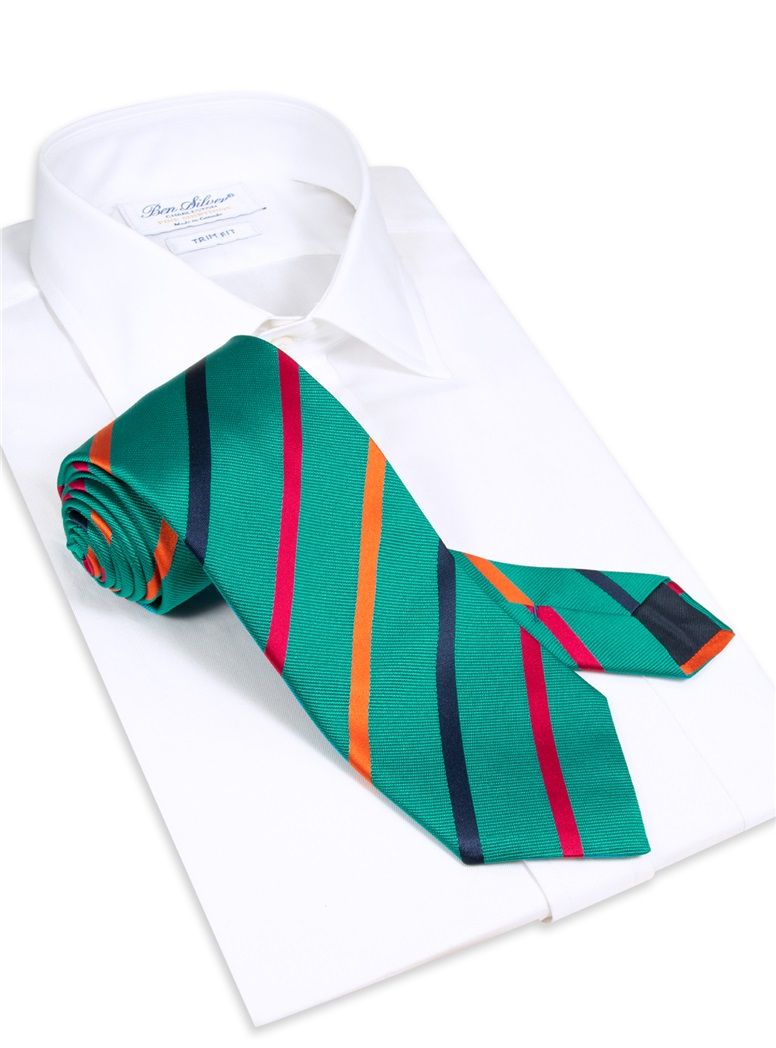 Silk Bar Striped Tie in Teal