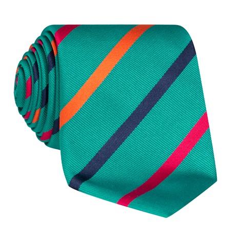 Silk Bar Striped Tie in Teal