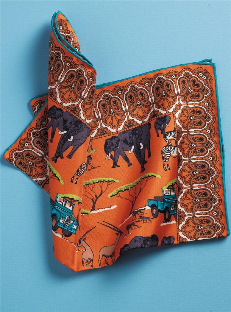Silk Safari Motif Pocket Squares